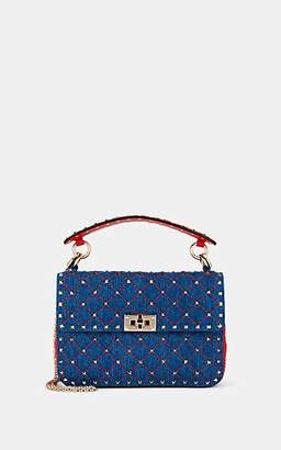 Valentino Women's Rockstud Spike Medium Denim Shoulder Bag - Blue