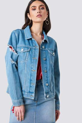 Kristin Sundberg For Na Kd Ripped Sleeve Denim Jacket Light Blue