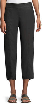 Eileen Fisher Organic Linen Pull-On Cropped Pants, Plus Size