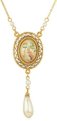 1928 Jewelry Womens Gold Tone Oval Flower Decal Pearl with Pearl Teardrop Pendant Necklace