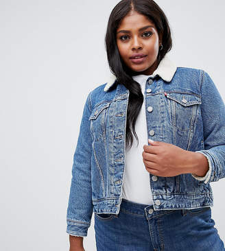 Levi's Plus Levis Plus trucker jacket with sherpa collar
