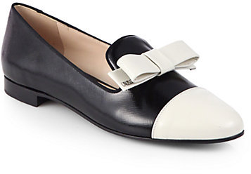 Prada Bicolor Saffiano Leather Bow Smoking Slippers