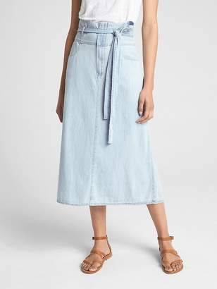Gap Denim Paper-Bag Waist Midi Skirt