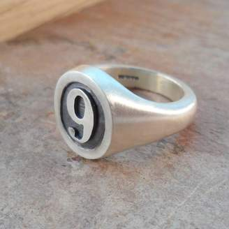 Van Buskirk Jewellery Personalised Number Oval Silver Signet Ring