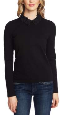 CeCe Cotton Floral-Applique Collared Top