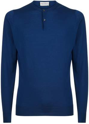 John Smedley Henley Button Neck Sweater