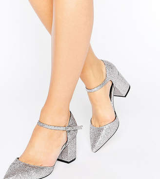 Asos SORAYA Wide Fit Pointed Glitter Heels