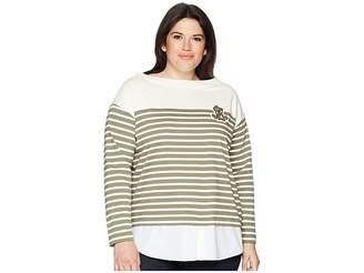 Lauren Ralph Lauren Plus Size Striped Layered Cotton Sweater Women's Sweater
