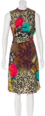 Etro Sleeveless Printed Midi Dress Brown Sleeveless Printed Midi Dress
