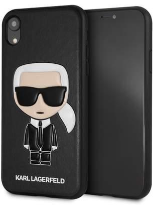 Karl Lagerfeld Black PU IKonik iPhone XR Case