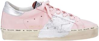 Golden Goose Hi Star Silver Paint Pink Leather Low-Top Sneakers