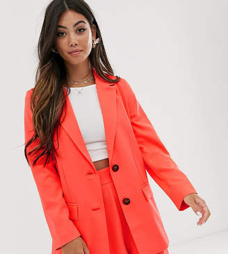 Asos DESIGN Petite pop coral soft suit blazer