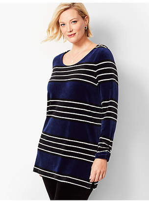 Talbots Plus Size Exclusive Luxe Velour Stripe Tunic