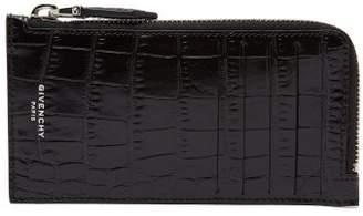 Givenchy Crocodile Effect Leather Cardholder - Mens - Black