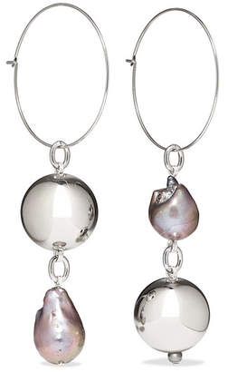 Mounser - Pagoda Fruit Rhodium-plated Pearl Earrings - Silver