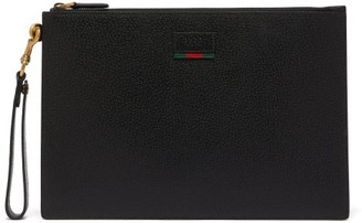 Gucci Agore Grained Leather Pouch - Mens - Black