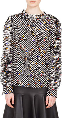 Akris Punto Ruched Long-Sleeve Round-Neck Crossroad-Print Silk Blouse