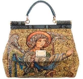 Dolce & Gabbana Python-Trimmed Mosaic Mini Miss Sicily Satchel