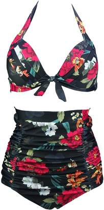 19ec2e21bc493 COCOSHIP Sparrow   Red Lightcyan Floral Print Halter High Waisted Two Piece  Bikini Bow Front Vintage