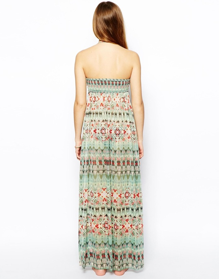 Asos Tie Dye Bandeau Open Front Beach Dress