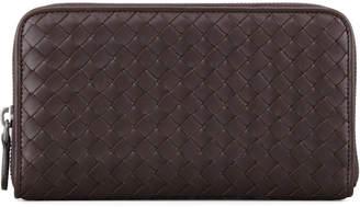 Bottega Veneta Continental Zip-Around Wallet, Dark Brown
