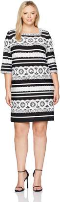 Sandra Darren Women's Plus Size 1 Pc 3/4 Sleeve Ity Puff Print Dress, Black/White, 20W