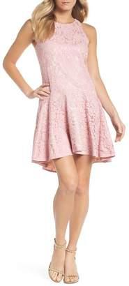 Eliza J Sleeveless Drop Waist Lace Dress (Regular & Petite)