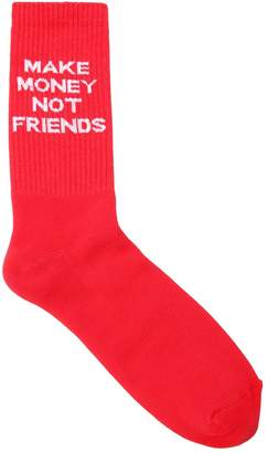 Blend of America Make Money Not Friends Logo Intarsia Cotton Knit Socks