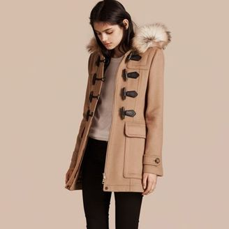 Burberry Detachable Fur Trim Wool Duffle Coat $1,395 thestylecure.com