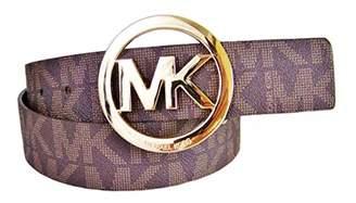 Michael Kors Signature Monogram Logo Gold Buckle Belt Brown