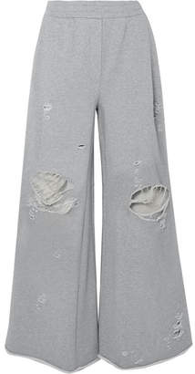 Alexander Wang Distressed French Cotton-terry Wide-leg Track Pants - Gray