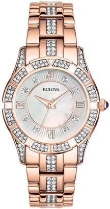 Bulova Women's Crystal Accent Rosetone BraceletWatch