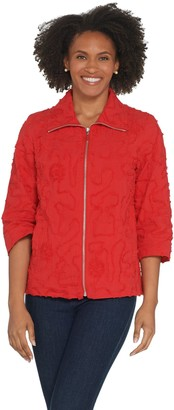 Susan Graver Cotton Soutache Zip-Front Jacket