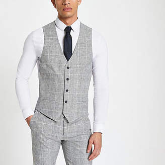River Island Light grey textured check suit vest