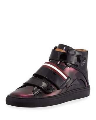 Bally Men's Herrick Metallic Patent Leather High-Top Sneakers