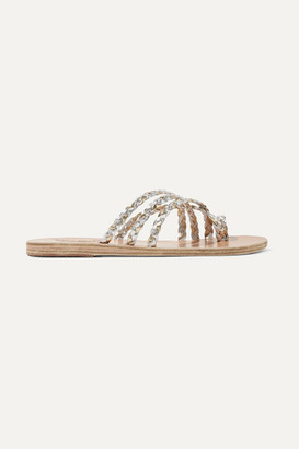 Ancient Greek Sandals Amalia Braided Metallic Leather Sandals - Silver