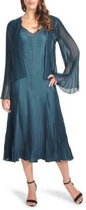 Komarov Charmeuse Midi Dress with Jacket
