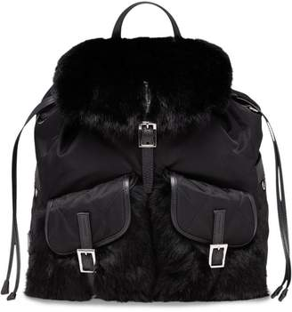 Prada Saffiano and fur trimmed backpack