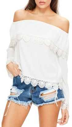 Women's Missguided Bardot Off The Shoulder Lace Top $72 thestylecure.com