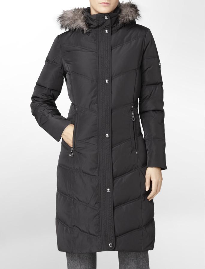 Calvin Klein Puffy Chevron Hooded Walker Coat