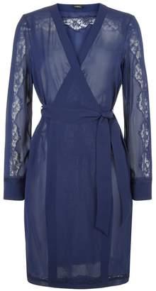 La Perla Liaison Navy Blue Short Silk Robe With Macrame Trim