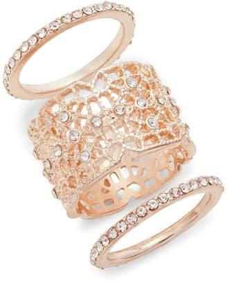 Etereo Set of 3 Filigree Crystal Rings