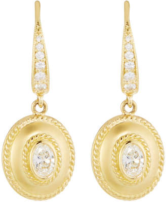 Penny Preville Small 18k Gold Fluted Diamond Oval Drop Earrings