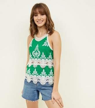 New Look Green Crochet Trim Sleeveless Top