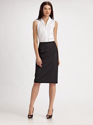 Lafayette 148 New York Debra Stretch-Wool Pencil Skirt