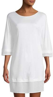 Hanro Ayana 3/4-Sleeve Silk-Trim Nightgown