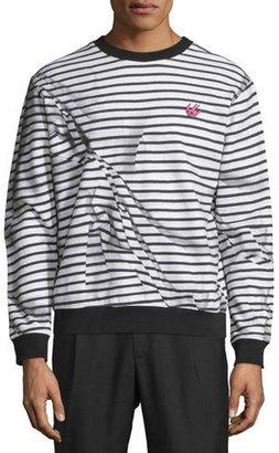 McQ Alexander McQueen Trompe L'Oeil Broken-Stripe Sweatshirt $365 thestylecure.com