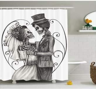 DAY Birger et Mikkelsen Ebern Designs Gale of The Dead Love Skull Skeleton Marriage Eternal Love Spanish Festive Art Shower Curtain