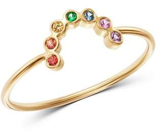 Rachel Zoe Zoë Chicco 14K Yellow Gold Rainbow Sapphire Small Arc Ring