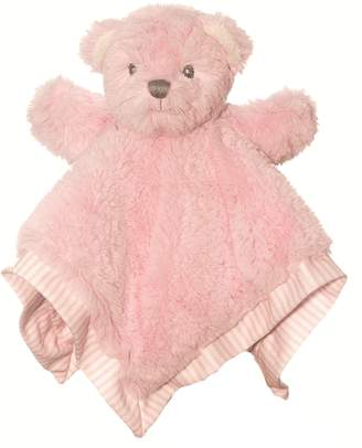 Suki Baby Hug-a-Boo Bear Finger Puppet Blankie with Striped Cotton Edge and Reverse Side (Pink)